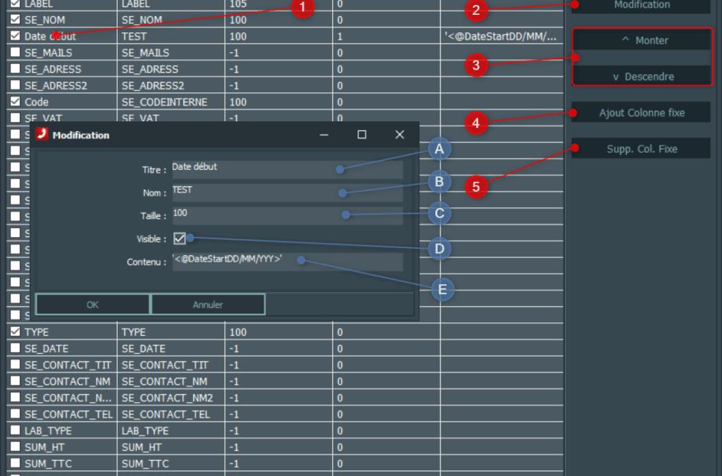 Paramétrage du format des exports et affichages des tableaux