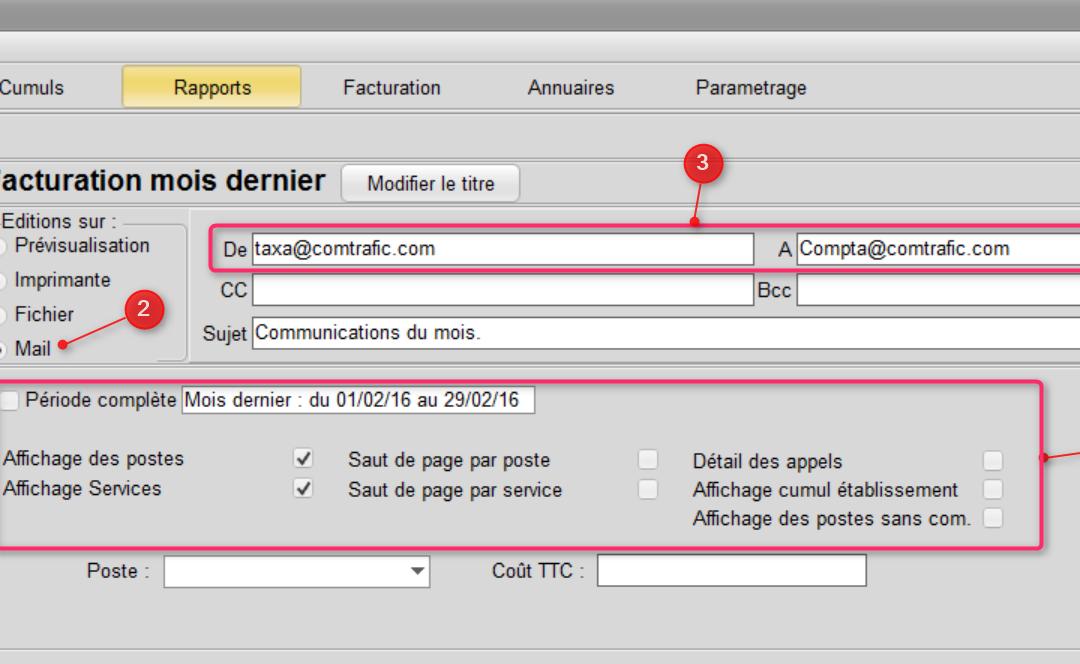 Envoi de rapport de taxation par mails : paramétrage et automatisations