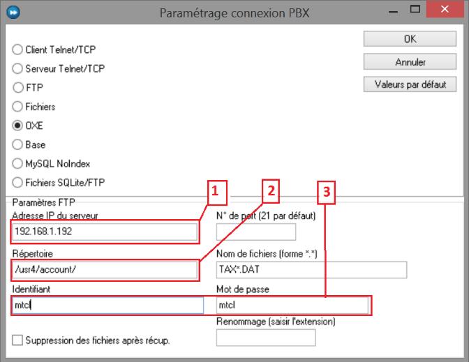 copie d'écran configuration taxation Alcatel Lucent OXE